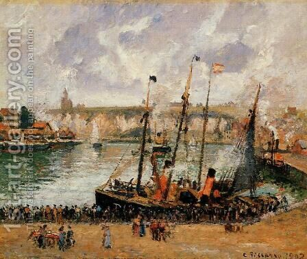 The Inner Harbor, Dpeppe: High Tide, Morning, Grey Weather by Camille Pissarro - Reproduction Oil Painting