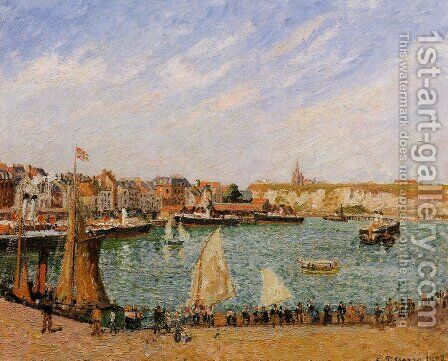 Afternoon, Sun, the Inner Harbor, Dieppe by Camille Pissarro - Reproduction Oil Painting