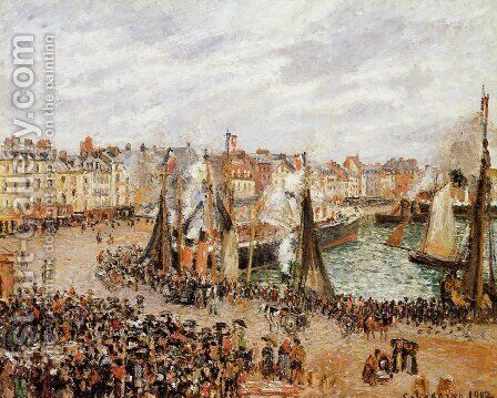 The Fishmarket, Dieppe: Grey Weather, Morning by Camille Pissarro - Reproduction Oil Painting