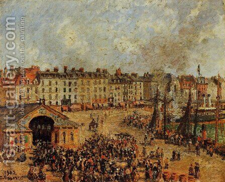 The Fishmarket, Dieppe by Camille Pissarro - Reproduction Oil Painting