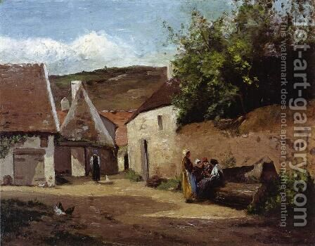 Village Corner by Camille Pissarro - Reproduction Oil Painting