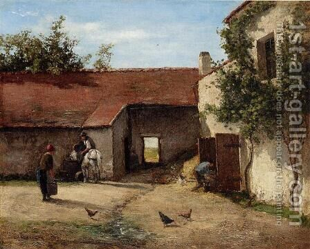 Farmyard by Camille Pissarro - Reproduction Oil Painting