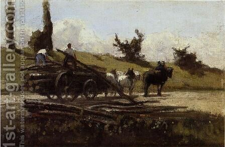 The Wood Cart by Camille Pissarro - Reproduction Oil Painting