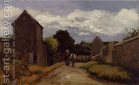 Male and Female Peasants on a Path Crossing the Countryside by Camille Pissarro - Reproduction Oil Painting
