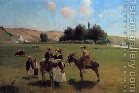 The Donkey Ride at Le Roche Guyon by Camille Pissarro - Reproduction Oil Painting