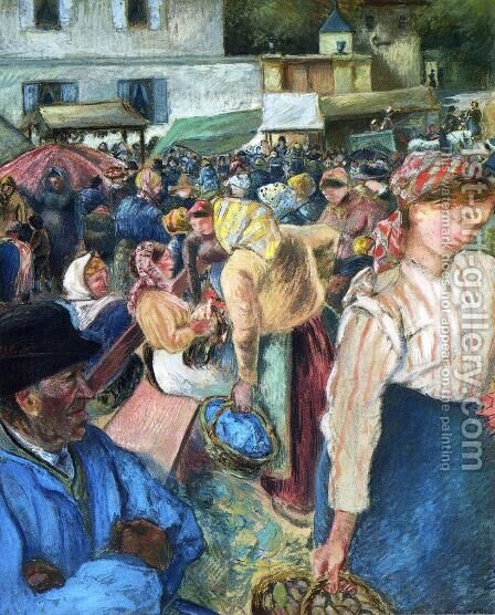 Poultry Market, Pontoise by Camille Pissarro - Reproduction Oil Painting