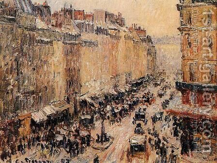 Rue Saint-Lazar under Snow by Camille Pissarro - Reproduction Oil Painting