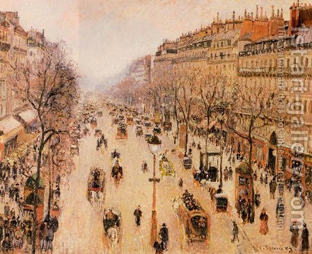 Boulevard Montmartre: Morning, Grey Weather by Camille Pissarro - Reproduction Oil Painting