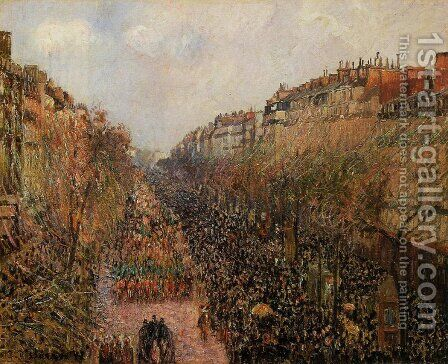Boulevard Montmartre: Mardi-Gras by Camille Pissarro - Reproduction Oil Painting