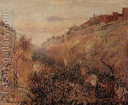 Mardi-Gras, Sunset, Boulevard Montmartre by Camille Pissarro - Reproduction Oil Painting