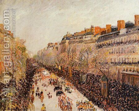 Mardi-Gras on the Boulevards by Camille Pissarro - Reproduction Oil Painting