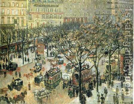 Boulevard des Italiens: Afternoon by Camille Pissarro - Reproduction Oil Painting