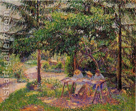 Children in a Garden at Eragny by Camille Pissarro - Reproduction Oil Painting