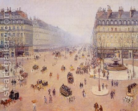 Avenue de l'Opera, Place du Thretre Francais: Misty Weather by Camille Pissarro - Reproduction Oil Painting
