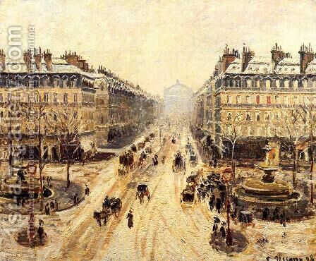 Avenue de l'Opera: Snow Effect by Camille Pissarro - Reproduction Oil Painting