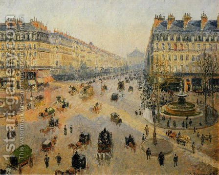 Avenue de l'Opera: Sunshine Winter Morning by Camille Pissarro - Reproduction Oil Painting