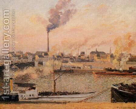Saint-Sever, Rouen: Morning, Five O'Clock by Camille Pissarro - Reproduction Oil Painting