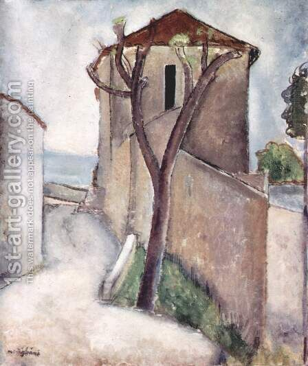 Tree and Houses by Amedeo Modigliani - Reproduction Oil Painting