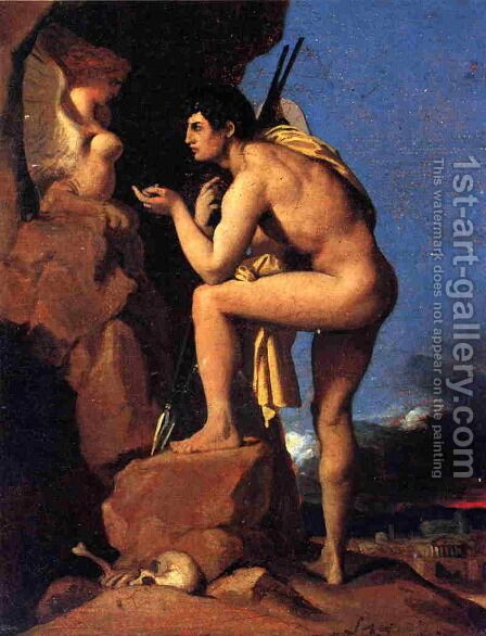 Oedipus and the Sphinx 2 by Jean Auguste Dominique Ingres - Reproduction Oil Painting