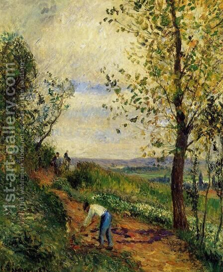 Landscape with a Man Digging by Camille Pissarro - Reproduction Oil Painting