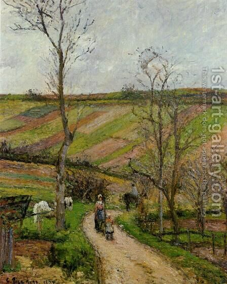 Route du Fond de l'Hermitage, Pontoise by Camille Pissarro - Reproduction Oil Painting