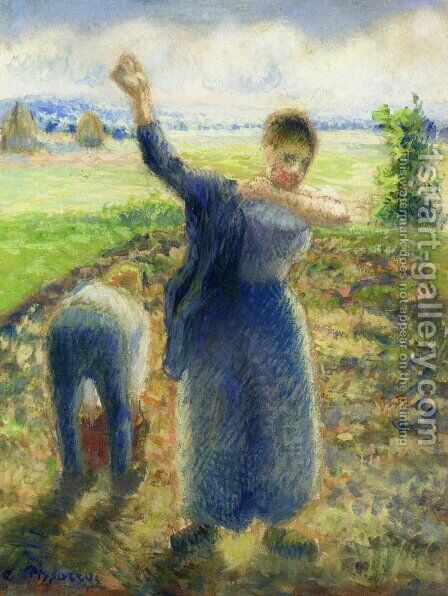 Workers in the Fields by Camille Pissarro - Reproduction Oil Painting
