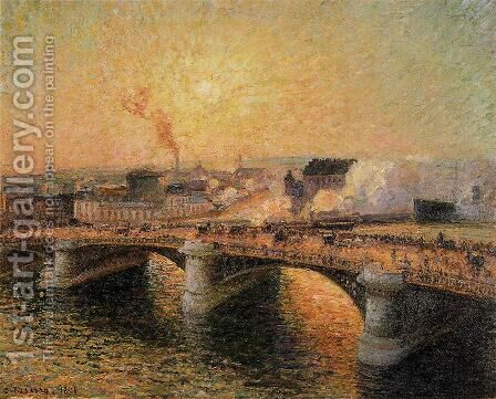 The Pont Boieldieu, Rouen: Sunset by Camille Pissarro - Reproduction Oil Painting