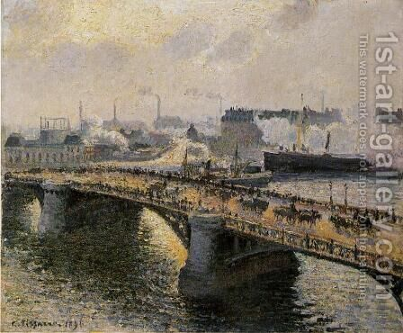 The Pont Boieldieu , Rouen: Sunset, Misty Weather by Camille Pissarro - Reproduction Oil Painting