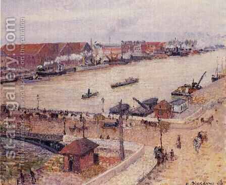 The Seine in Flood, Rouen by Camille Pissarro - Reproduction Oil Painting