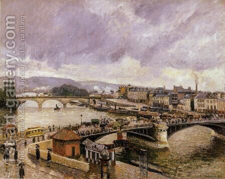 The Pont Boieldieu , Rouen: Rain Effect by Camille Pissarro - Reproduction Oil Painting