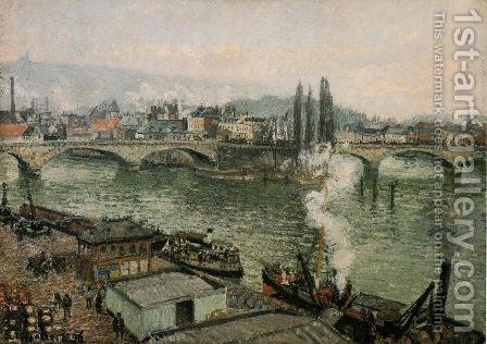 The Pont Corneille , Rouen: Grey Weather by Camille Pissarro - Reproduction Oil Painting