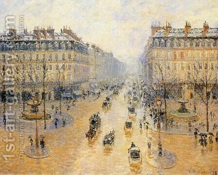 Avenue de l'Opera: Snow Effect I by Camille Pissarro - Reproduction Oil Painting