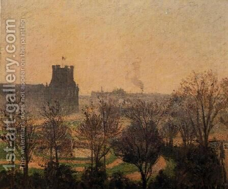 Garden of the Louvre: Fog Effect by Camille Pissarro - Reproduction Oil Painting