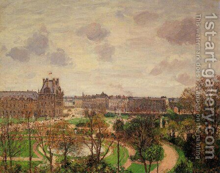 Garden of the Louvre: Morning, Grey Weather by Camille Pissarro - Reproduction Oil Painting