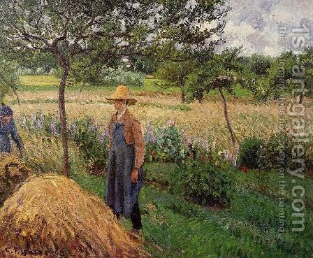 Grey Weather, Morning with Figures, Egagny by Camille Pissarro - Reproduction Oil Painting