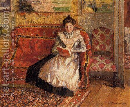 Jeanne Reading by Camille Pissarro - Reproduction Oil Painting