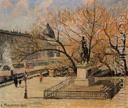The Pont-Neuf, Statue of Henri IV: Morning, Sun by Camille Pissarro - Reproduction Oil Painting