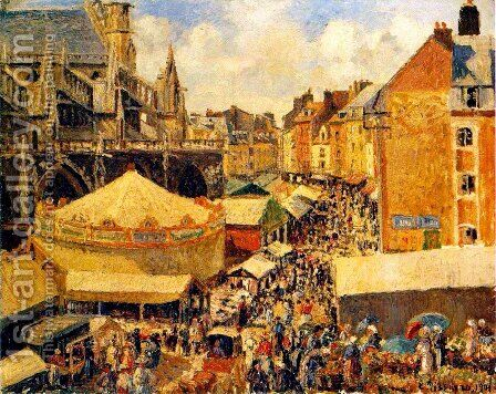 The Fair in Dieppe: Sunny Morning by Camille Pissarro - Reproduction Oil Painting