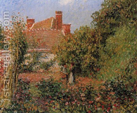 Kitchen Garden in Eragny, Afternoon by Camille Pissarro - Reproduction Oil Painting