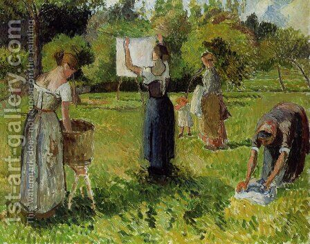 Laundresses at Eragny by Camille Pissarro - Reproduction Oil Painting
