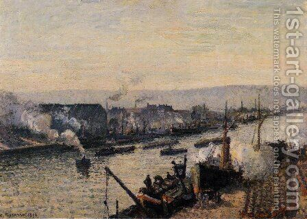 The Port of Rouen, Saint-Sever by Camille Pissarro - Reproduction Oil Painting