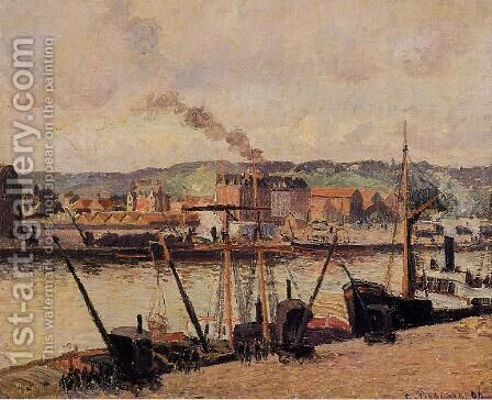 Morning, Rouen, the Quays by Camille Pissarro - Reproduction Oil Painting