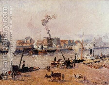 Foggy Morning, Rouen by Camille Pissarro - Reproduction Oil Painting