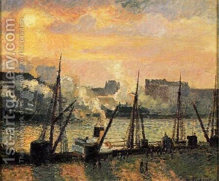 Quay in Rouen: Sunset by Camille Pissarro - Reproduction Oil Painting