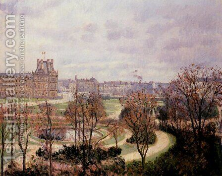 View of the Tulleries: Morning by Camille Pissarro - Reproduction Oil Painting