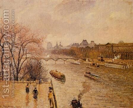 The Louvre: Afternoon, Rainy Weather by Camille Pissarro - Reproduction Oil Painting