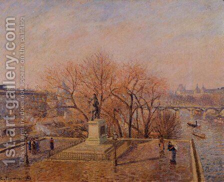 Ponty-Neuf, the Statue of Henri IV, Sunny Weather, Morning by Camille Pissarro - Reproduction Oil Painting