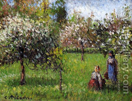 Apple Blossoms, Eragny by Camille Pissarro - Reproduction Oil Painting