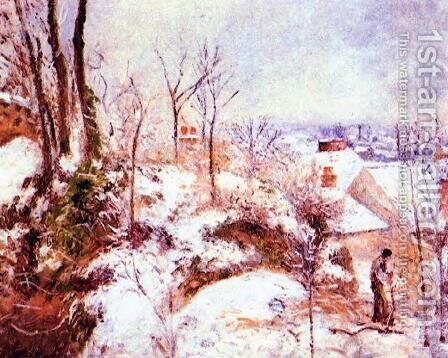 A Cottage in the Snow by Camille Pissarro - Reproduction Oil Painting