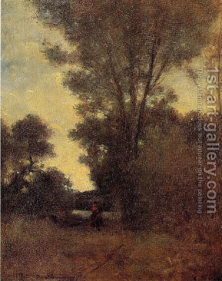 Horseman in the Forest by Camille Pissarro - Reproduction Oil Painting